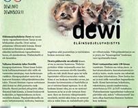 Eläinsuojeluyhdistys Dewi ry:lle tehtyjä materiaaleja