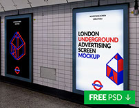 Free London Underground Ad Screen Mockup