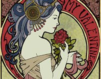 Art Nouveau Valentine's Day Cards