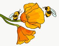 Poppy & bee tattoo design