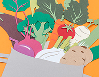 Paper art illustration - seasonal gardening
