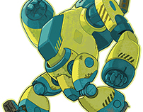 Walking Yellow Robot Vector Cartoon Illustration
