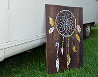 Dreamcatcher Illustration on wood