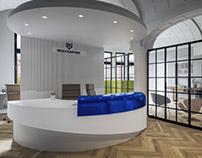 Interior visualization of the reception area