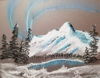 Oil pastel mountain and northern lights