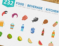 Food Beverage Kitchen Full Color Icons Set