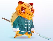 Origami combat tiger