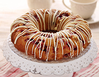 Raspberry and white chocolate bundt