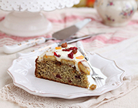 Banana cake with hazelnuts and cranberries