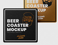 Square Beer Coaster Mock-Up Template (Free Download)