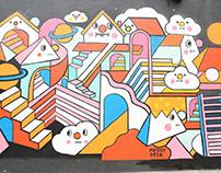 SEENAEME & MESSY DESK painting at HKwalls 2017 in Wong