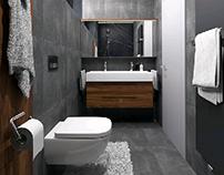 Small bathroom #grey #anthracite #blackmarble #walnut