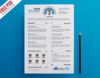 Free PSD :  Clean and Infographic Resume PSD Template