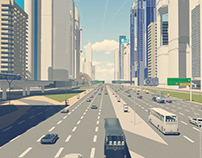 Dubia - Sheikh Zayed road - Animation