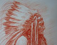 Indianin 30 x 42 cm Sanguine drawing