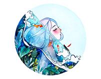 8cm Little Watercolor Painting