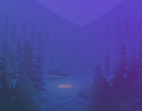 Forest at night - illustration