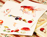 Fish & Botanical Watercolor Illustrations