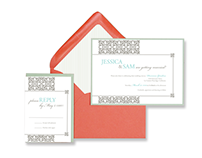 Vintage Pattern Custom Wedding Invitation Suite