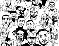 Poster with portraits of Hip Hop artists
