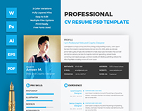 Professional CV Resume PSD Template
