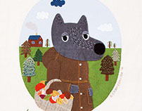 Textile collage illustrations