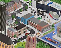Leeuwarden culturele hoofdstad 2018 pixel illustratie