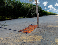 Woven. Rocking leather hammock