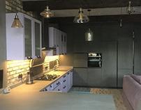 Нереальная кухня с фасадами,столешней из керамогранита