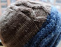 Blue cable brim hat, 100% merino, unisex.
