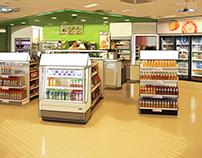 Conceptschetsen van displays en winkelschappen voor Tex