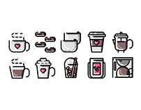 My Love for Coffee Mini Icon Set
