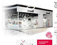 Дизайн страницы для франшизы MODI