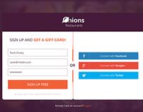 A prototype scenarios for registration / login steps