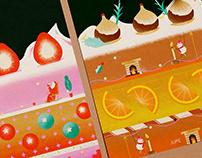 """A Peek Of Cake"": Xmas illustration"