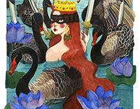 Queen, Swords, Swans