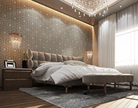 private villa bedroom- new cairo (3d visualization)