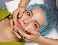 Spa treatment. Massage with jade stones