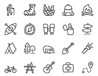 Doodle Icon set - Camping