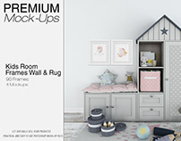 Kids Room - 90 Customizable Frames, Wall & Rug Set