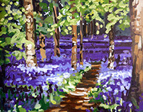 Bluebell Stroll, oil on canvas