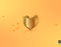 5 Golden Hearts With Particles Pack