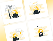 Emotional Blonde Girl – Animated Illustrations Pack