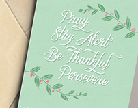 Pray, Be Thankful, Persevere Verse Card