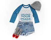 Raglan T-shirt Outfit Set Mockup
