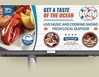 Seafood Restaurant Billboard Template