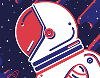 Illustration inspired on Joeri Gagarin.