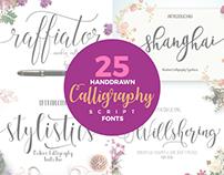 25 Hand Drawn Modern Script Calligraphy Fonts