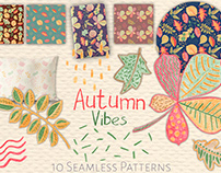 Autumn Leaves Semless Patterns and Clipart Collection