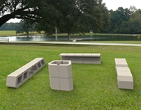 Outdoor concrete furniture system